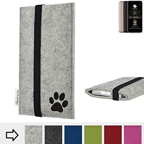 flat.design Handy Hülle Coimbra für Allview A9 Plus individualsierbare Handytasche Filz Tasche fair Hund Pfote tatze