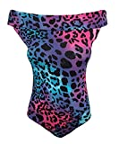 Fast Fashion - Sexy Bodysuit Manches Néon Imprimé Léopard Bodycon - Femmes (SM = 36/38, Neon Leopard)