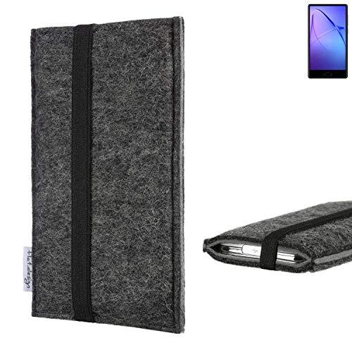 flat.design Handyhülle Lagoa für Leagoo KIICA Mix   Farbe: anthrazit/grau   Smartphone-Tasche aus Filz   Handy Schutzhülle  Handytasche Made in Germany