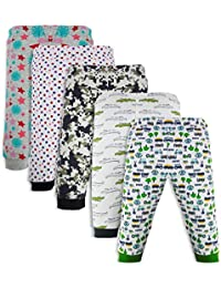 Minicult Cotton Baby Pajama Pants Unisex with Rib (Pack of 5) (Multicolor_2-3 Years)