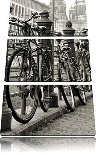 Pixxprint Fahrrad Bahnhof BMX Bahnschiene 3-Teiler Leinwandbild 120x80 Bild auf Leinwand