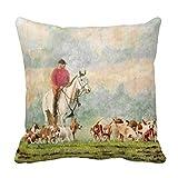 DSL&HXY Fox Hunt white Linen Throw Pillow Case Cushion Cover Home Sofa Decorative 18 X 18 Inch.