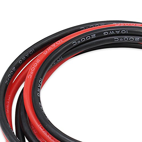 PsmGoods 10 Füße 10 Gauge AWG Flexible Silikon 10 AWG Draht Kabel