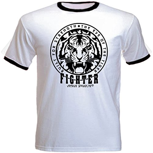 urban shaolin Men's Boxing Rocky Eye Of The Tiger Movie Inspired Crew Neck Regualr, Fit T Shirt, White With Black Trim
