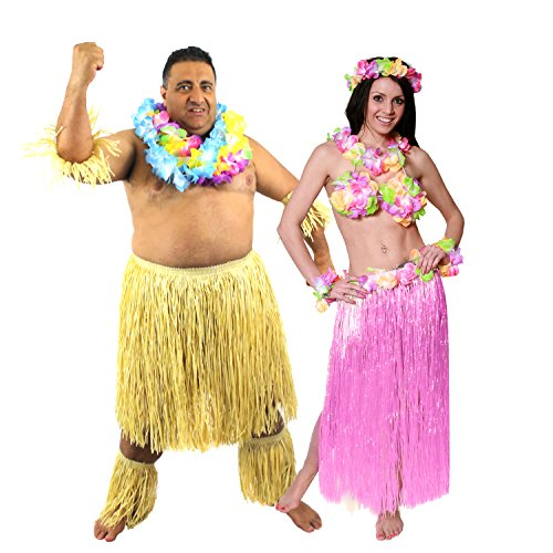 Zulu Paar KOSTÜM Verkleidung=Hula Rock in 10 Farben+2 LÄNGEN =Zulu in 2 Verschiedenen GRÖßEN=MÄNNER -Plus Size + - Magnum Pi Kostüm