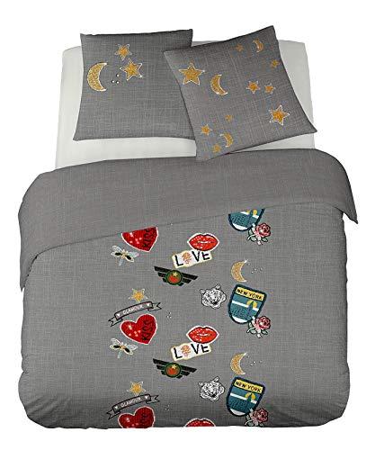 DORAN SOU Outlet DO You Patch - Soldes - Parure de lit pour 1 ou 2 Personnes : Housse de Couette 200x200 cm + Taies d'oreiller 65x65 cm