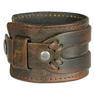 SilberDream Leather Bracelet Antic Brown with Rivets and Other Adornments - fits up to 8'' - LA4293B