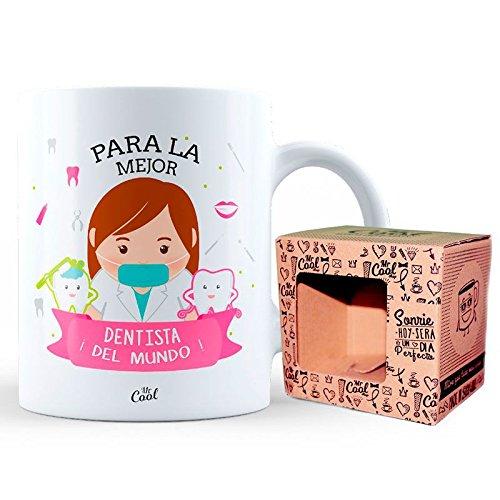 Taza ceramica 33cl en caja regalo con mensaje Para la mejor dentista ¡del mundo!