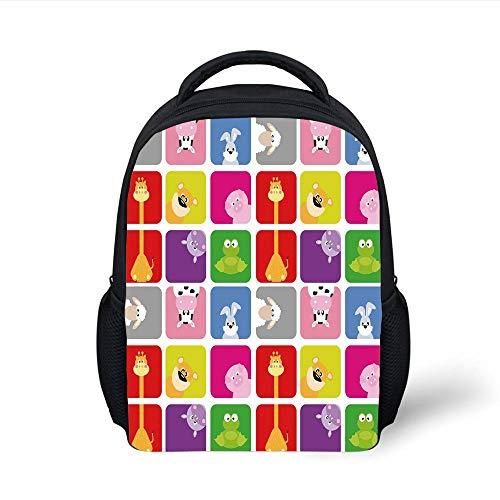Kids School Backpack Nursery,Cartoon Animals in Colorful Frames Cute Pig Cow Giraffe Hippo Frog Rabbit Sheep,Multicolor Plain Bookbag Travel Daypack