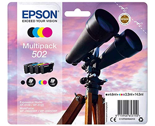 Epson Original 502 Tinte Fernglas (XP-5100 XP-5105 WF-2860DWF WF-2865DWF, Amazon Dash Replenishment-fähig) Multipack 4-farbig