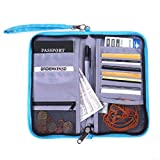 GADIEMKENSD Travel Wallet Passport Holder with RFID Blocking Offer Family Organizer for Credit & Business Cards,Document,Boarding Pass,and Accessories (Blue)