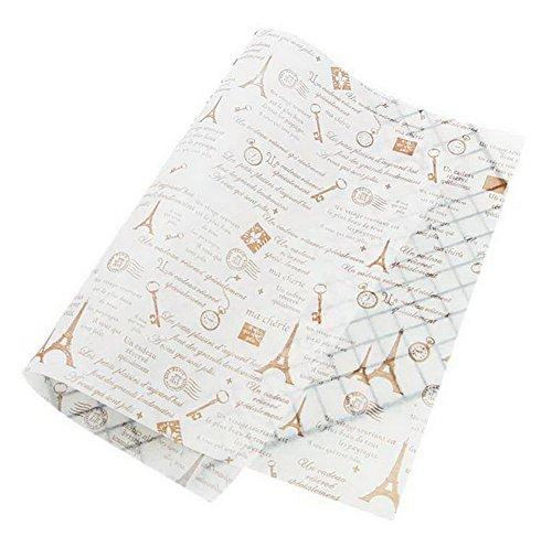 Spicy Meow 50 Blätter Eiffelturm Muster Öldicht Backen Kraftpapier Essen Platte Tablett Papier