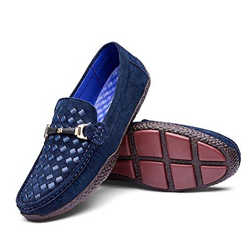 Shenn Homme Plat Glisser sur Classique Robe De Soirée Décontractée Mariage Suède Mocassins Chaussures Bleu