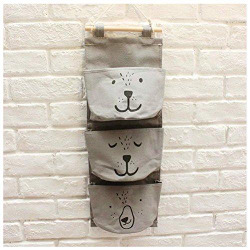 Inwagui Multifunktionale Hängeorganizer,Wand hängenden 3 Tasche Hanging Storage Bag Wand Hängen Hängeorganizer Hängende Tasche Wand Utensilo-Grey (Blumen-wand-tasche)