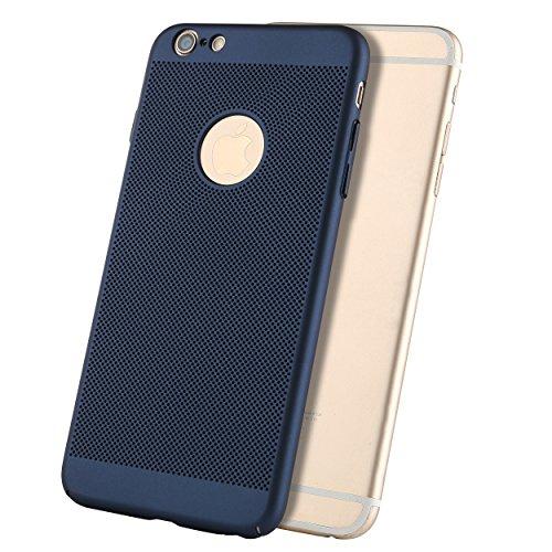 Liamoo® Apple iPhone 6 / 6s Hülle / Case / Schutzhülle aus Kunststoff gelocht mit Logoausschnitt in blau