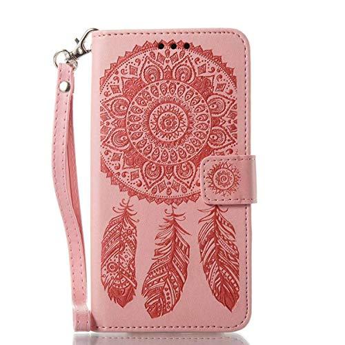 Bedddouuk iPhone 6S Plus Leder Hülle,Retro Traumfänger Feder Muster Flip Leder Wallet Tasche Handyhülle im Bookstyle mit Standfunktion Kartenfach Schutzhülle für iPhone 6 Plus,Rosa