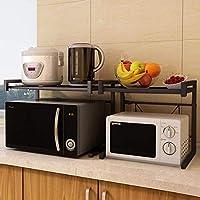 GEMITTO Estante extensible para horno de microondas 3 ganchos para colgar, organizador de almacenamiento de cocina, color negro de 40 a 60 x 36 x 40 cm