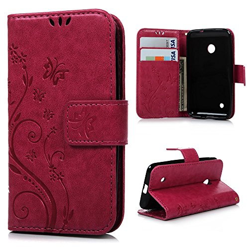 MAXFE.CO Lederhülle Leder Tasche Case Cover für Nokia Lumia 530 N530 Hülle PU Schutz Etui Schale Rose rot Backcover Flip Cover Wallet mit Standfunktion Karteneinschub und Magnetverschluß Etui