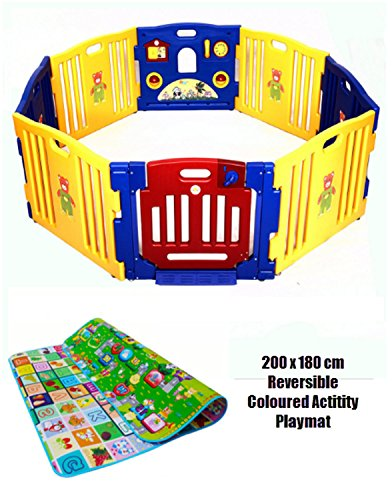 Baby Playpen 8 Bright and Colourful 100% Safe, Non Toxic Heavy Duty Interlocking Plastic Panels - Playpanel with 6 Activities - Soft Foam Double-Sided Educational Activity Play Mat - Hours of Fun