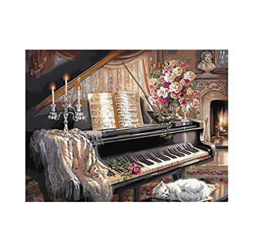 HYDWX Klavier im Zimmer Holz kabine ölgemälde by Zahlen Bild raumdekor Wand Zeichnung Kits Kunst Bilder färbung by Anzahl 40x50 cm -