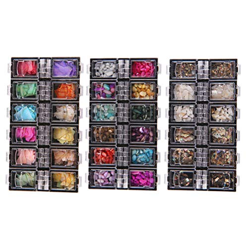 Lurrose 3 Sätze natürliche Meer 3d Charme Nail Art Highlight Nagel Pailletten DIY Nagel Schönheit Zubehör