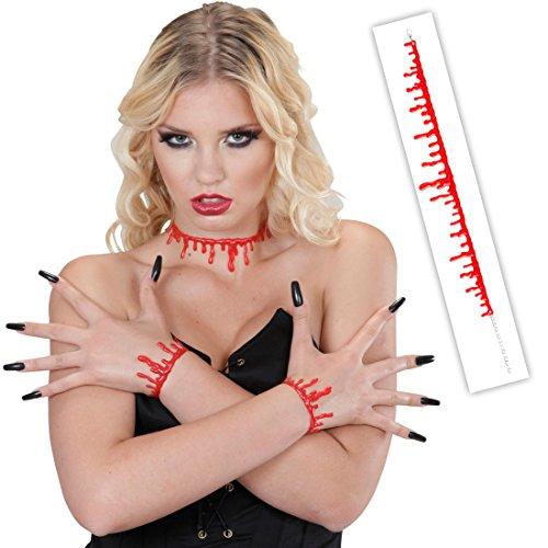 NET TOYS Blutstropfen Kette Blut Halskette rot Blutige Kette Horror Halsband Halloween Kostüm Accessoire Schmuck