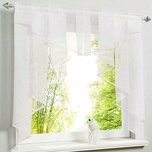 HongYa transparenter Voile Scheibengardine Tunnelzug Kurzstore Küche Kleinfenster Gardine H/B 100/100 cm Weiß