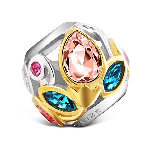 T400 Jewelers 925 Sterling Silber durchbrochener Bead Charms Bunt Anhänger für Armbänder
