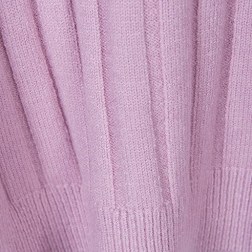 Vogueearth Donna's Lungo Manica Knit Crew Neck Slim-Fit Basic Pullover Maglieria Sweater Set Vestito Rosa