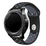 Elespoto 20MM Huawei Watch 2 Reemplazo liberación rápida Correa de Reloj Silicona Hebilla Pulsera para Samsung Gear Classic SM-R7320, Motorola Moto 360 2nd Generacion Samsung Gear Sport (Black Grey)