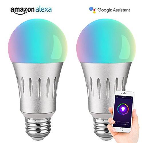VegaHome 2 Stück Smart WLAN Glühbirne E27 Mehrfarbige Dimmbare 7W RGBW WIFI LED Lampe Fernbedienung Äquivalent zu 60W Birne Kompatibel mit Amazon Alexa Echo Google Home und IFTTT