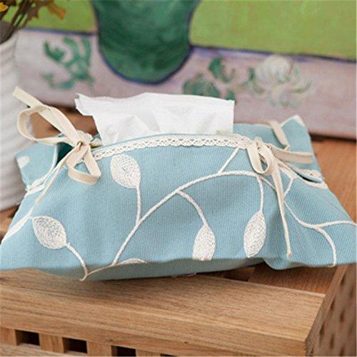 Generic Chiffon couvertures de boîte à mouchoirs pour serviettes en papier toilette Accessoires de décoration de la maison de type coréen Boîte à mouchoirs support moderne Qqp221 Bleu ciel B