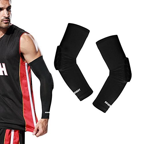 EULANT Hex pad Shooter Armstulpe, Kompression Arm Ärmel, Basketball Arm Sleeve, Sport Arm Warmer Für Damen und Herren, Ellbogenschoner Schwarz, L