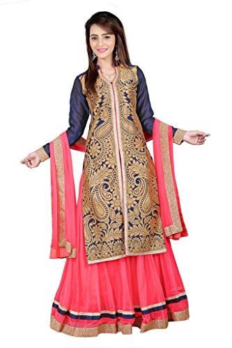 BanoRani Womens Navy Blue & Carrot Pink Color Jute Jacqaurd & Net Self Design With Zari & Lace Work Lehenga Choli (Sharara)  available at amazon for Rs.1549