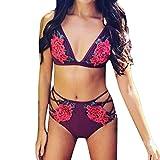 Bikini Set Push-Up Swimwear Mujer 2018 Brasileños Rojo Tanga Womanantes (^_−) (L, Rojo)