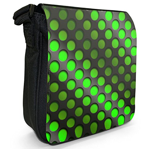 Abstract 3D-Wave-Piccola borsa a tracolla in tela, colore: nero, taglia: S Green Abstract 3D Wave