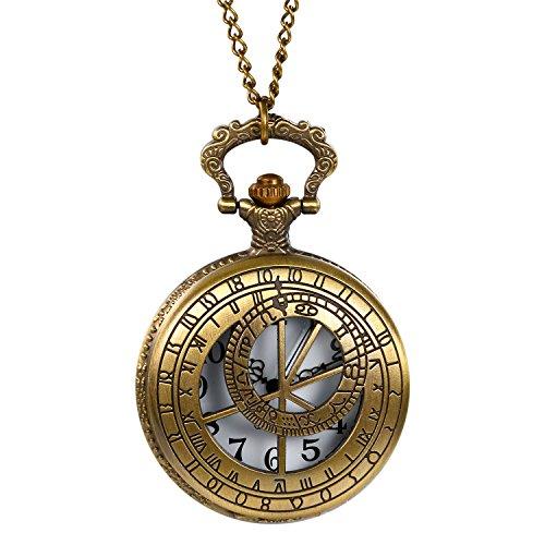 Retro Herren Damen Taschenuhr, LANCARDO Kettenuhr Analog Quarz Modisch 12 Sternbilder Gravur Kompass Muster Uhr mit Halskette, Bronze (Antiquitäten Halskette)