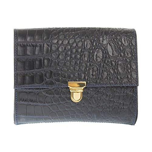 CTM Petit sac sac à bandoulière classique , embrayage Donna impression Cocco , bracelet en cuir italien avec 20x16x4 cm de métal