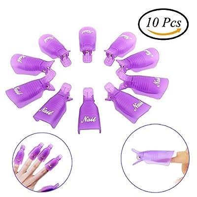 10 Pieces Gel Nail Polish Pads for Removing Warp Nail, Purple