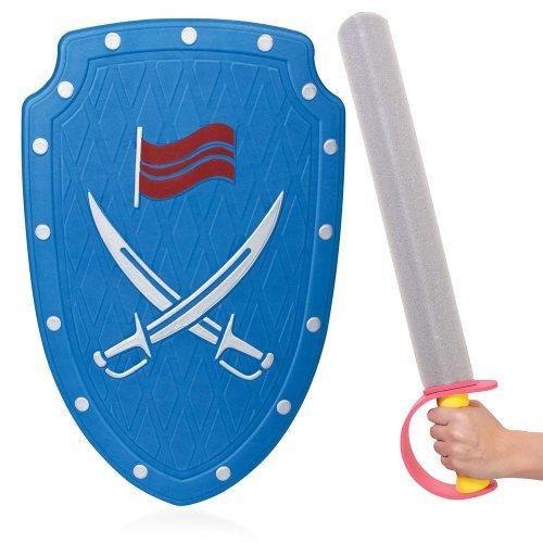 Tobar - Kinder Jungen Kostüm Zubehör Blau Ritter Krieger Weiches Schwert & Schild (Schild Kostüm Ritter)
