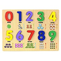 Whiie891203 Puzzle IQ Game Educational Toys,Animal Print Wooden 0-9 Number Puzzles Board Counting Math Learning Toy for Kids Birthday & Christmas Gift Choice