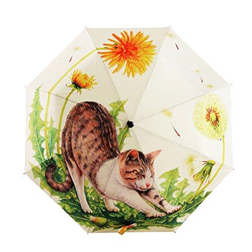 FakeFace® Silber Coating Regenschirm Sonnenschirm 3 Faltbar Doppeldach 8 Rippen Manuell Öffnen UV-Schutz Schirm für Damen Herren Outdoor Camping Reise Alltag 108 CM (Faule Katze) -