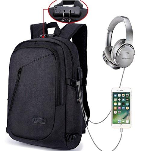 Laptop Rucksack Männer, Schulrucksack Jungen mit USB -Ladeanschluss Headphone Anschlussund Anti-Diebstahl Lock, Business Daypacks für Freitzeit Arbeit Campus Schule Reise, schwarz (Geldbörse Tasche Doppelte)