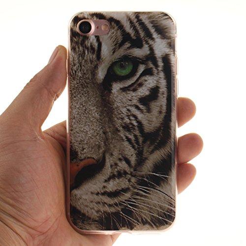 Cozy Hut ® Apple iPhone 7 Hülle | Premium iPhone 7 Cover | Tasche | Crystal – Clear | Etui | Silikon | Case | Schutz-Hülle | Bumper | transparente Weicheplastik Rückschale | flexible TPU Bumper - Wolf Tiger
