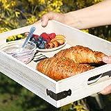 com-four® Serviertablett aus Holz, Tablett mit Tragegriffen und Aufdruck Kitchen, 40 x 26 x 6,5 cm (01 Stück - Kitchen) - 2