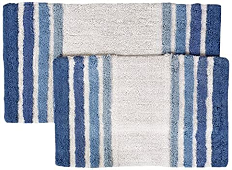 Chesapeake Merchandising 2-Piece Tuxedo Stripe Bath Rug Set, Blue by Chesapeake Merchandising