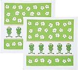 Geschirrtuch 2er-Pack Frottier weiß-grün Größe 50x50 cm