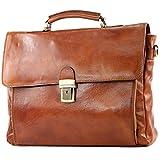modamoda de - ital. Business Laptop Akten Tasche Leder A010, Präzise Farbe:Cognac