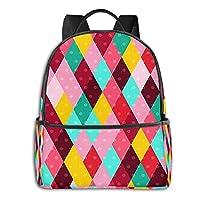 School Backpack, Colourful Diamond Pattern Book Bag Bookbag Travel Casual Rucksack Daypack for Teenagers Girls Boys Man Women