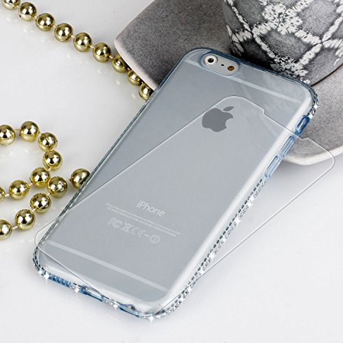 EGO® TPU Case Cover Bling Case Silicone Case Diamant telefoon beschermhoes voor iPhone 6 / 6s Pink Transparant Glanzende hoes ultra dun etui Strass Klar Blau + Glas